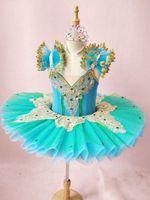 New kids Ballet Tutu Child lake blue Professional Tutu Ballet Dance Costumes Girls Ballerina Party Sleeping Beauty Petal skirt