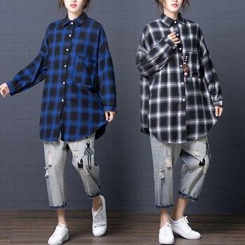 Plaid Casual Blouses For Women Full Literary Womens Tops And Blouses Lapel Brief Blouses For Women Fashion Noveltie фото
