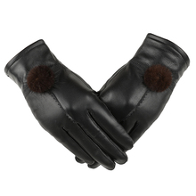 Womens Winter Fashion Warm Thicken Genuine Leather Gloves High quality Mittens Color Free Shipping gift for