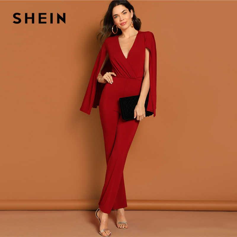 4891bc2f22 ... SHEIN Burgundy Surplice Neck Straight Leg Cape Jumpsuit 2019 Women  Elegant Spring Highstreet V neck Long