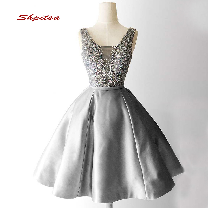 Luxury Short   Cocktail     Dresses   Party Grey Homecoming Graduation Women Prom Plus Size Coctail Mini Semi Formal   Dresses