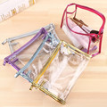 eTya Fashion Pink Blue Cosmetic Bag Transparent Waterproof PVC Toiletry Bags Clear Women Makeup Bag Organizer Set