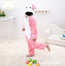 White Doted Pink Hello Kitty Cat Cosplay Jumpsuit Costumes For Children Kids Onesie Pajamas Clothing For Halloween Carnival
