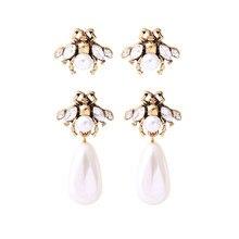 Uer 2 estilos gota imitação de pérola bonito inseto abelha brincos moda vintage jóias femininas