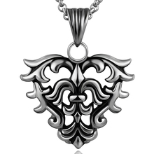 Gothic European Cross Heart Men Necklace Stainless Steel Silver Long Chain Pendant Bijoux Male Crucifix Charms Fine Jewelry Gift