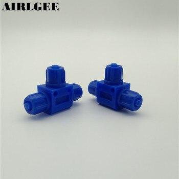 5 piezas neumáticas 6mm 8mm 10mm tubo de aire un toque de plástico conector en forma de T Ajuste rápido azul