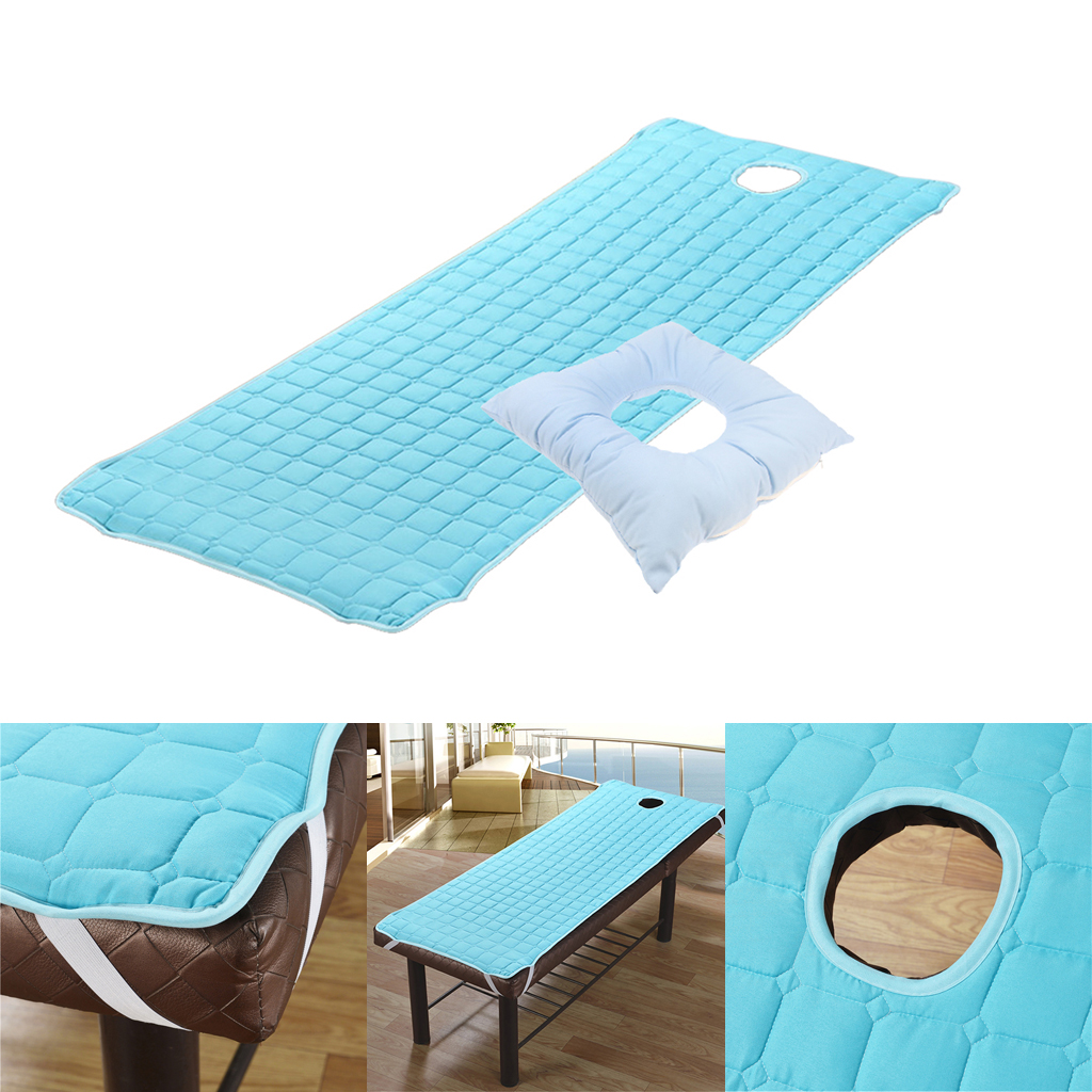 Set Of 2pcs Blue Ultra Soft Massage Table Bed Mattress Sheet + Face Down Cradle Cushion Kit