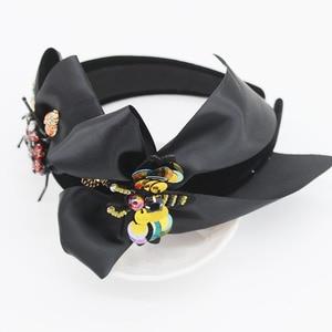 Image 2 - New European and American Baroque headband beetle bee bow hair accessories fashion ball wild headband 1092