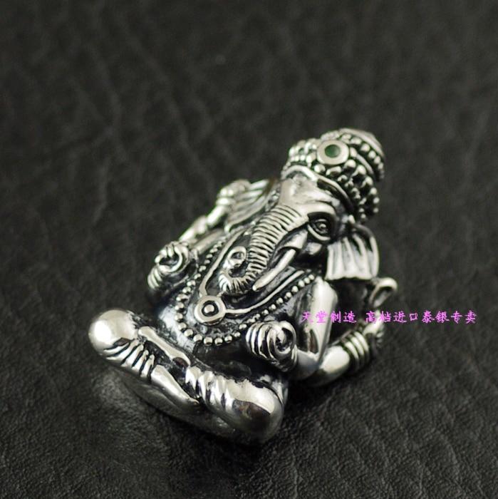 Thailand imports, retro style 925 Sterling Silver Elephant Buddha, Ganesh Pendant thailand imports retro 925 sterling silver cross pendant