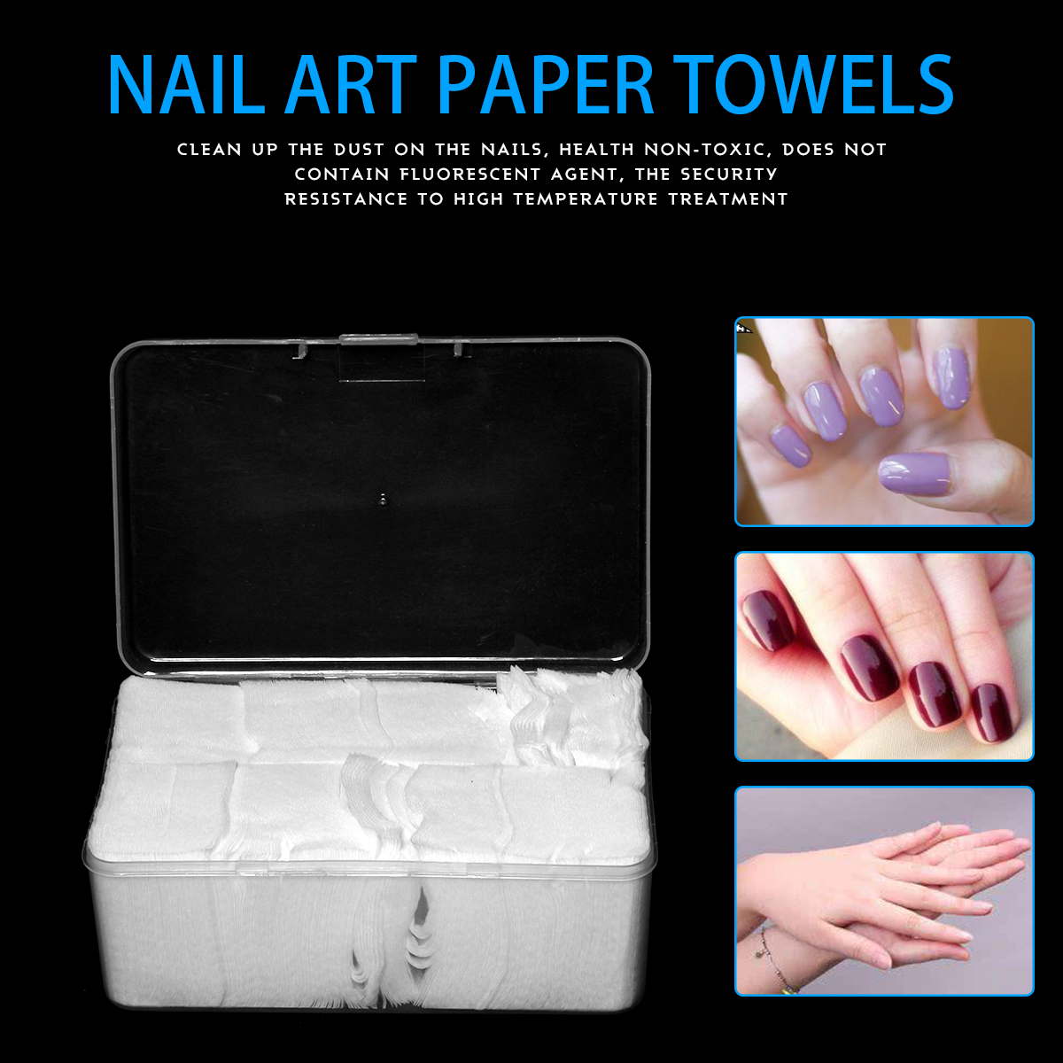1Box 1000 Pcs White Nail Art Wipes UV Gel Nail Polish Remover ...