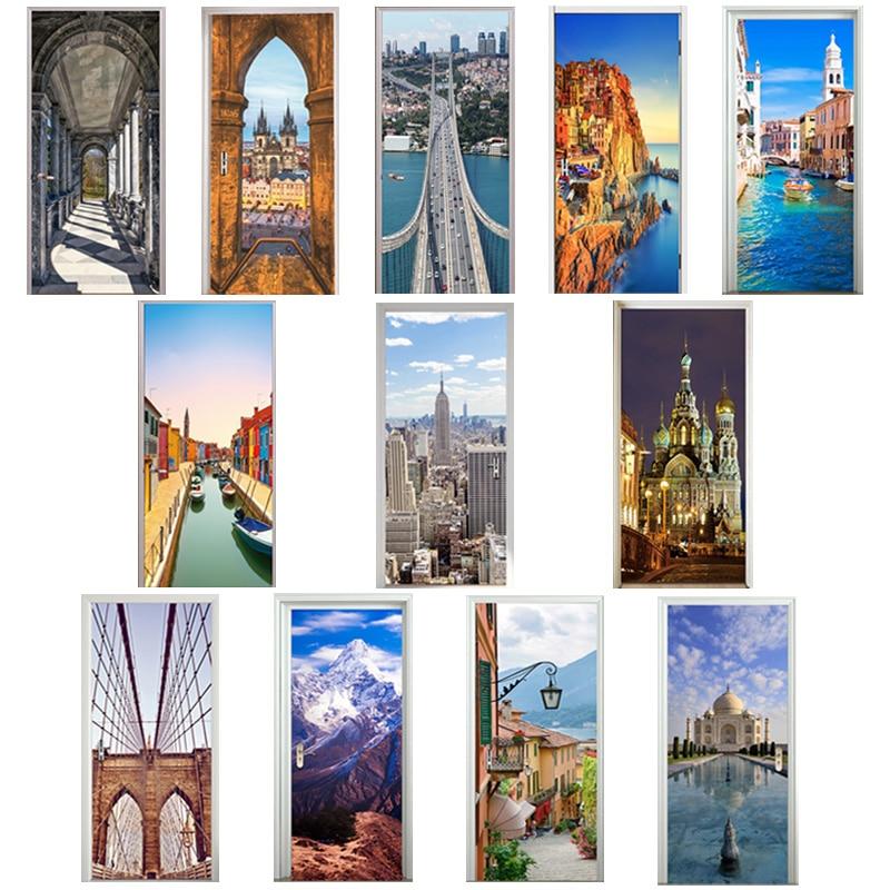 3D Door Stickers Square Church Manarola Ama Dablam Lake Como Venice Canal Taj Mahal Saint Petersburg Art Corridor Decor Paste