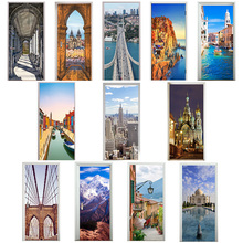 3D Door Stickers Square Church Manarola Ama Dablam Lake Como ვენეციის არხი Taj Mahal Saint Petersburg Art Corridor Decor Paste