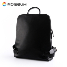 RDGGUH New Fashion Brand Men's Backpack PU Leather Man School Bags For College Black Waterproof Male Travel Laptop Backpacks
