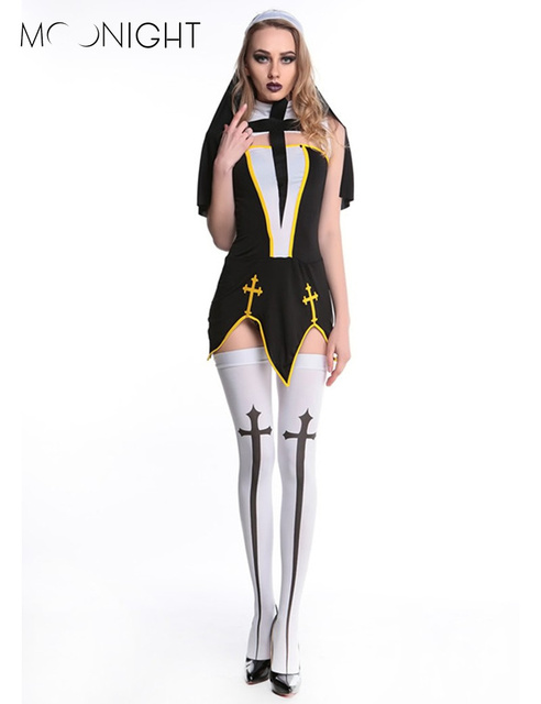 MOONIGHT Sexy Nun Costume Adult Women Cosplay Dress With Black Hood For Halloween Costume Sister Cosplay Party Costume