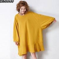 DIMANAF 2017 Women Plus Size T Shirt Autumn Batwing Sleeve Cotton Solid Female Patchwork Casual Oversize Loose T Shirt Fit 5XL