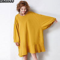 DIMANAF 2017 Women Plus Size T Shirt Autumn Batwing Sleeve Cotton Solid Female Patchwork Casual Oversize Loose T Shirt Fit 5XL