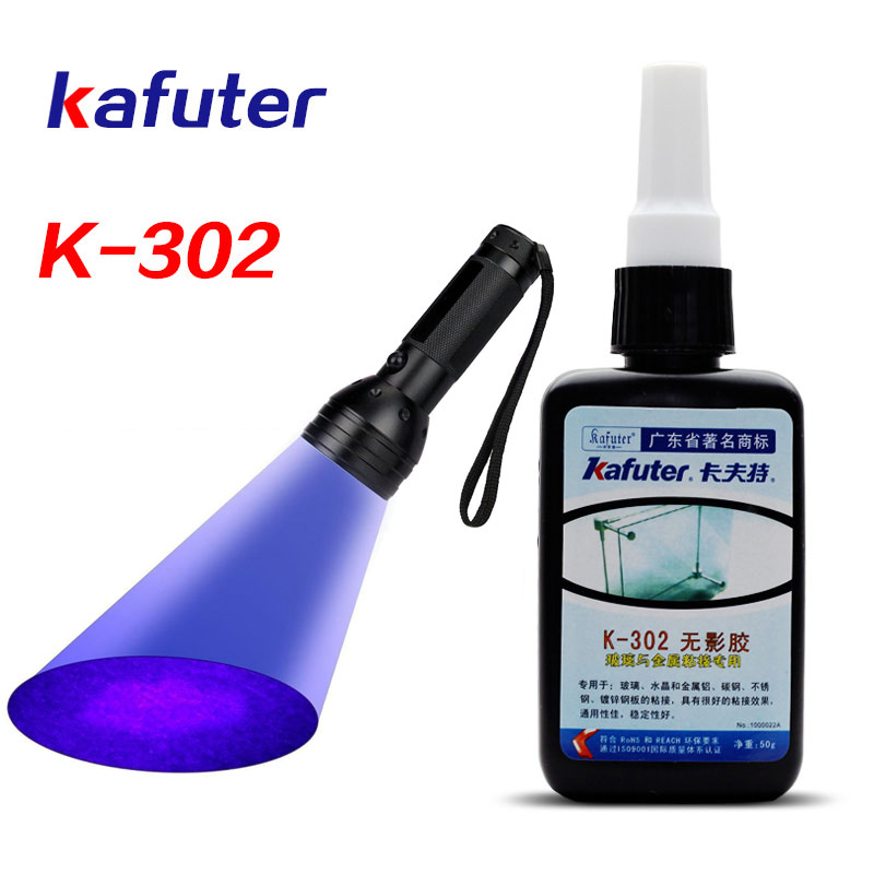 Starke 50 ml Kafuter Uv-kleber Uv-härtung Klebstoff K-302 + 51LED UV Taschenlampe Uv-härtung Kleber Kristall Glas und Metall-bindung