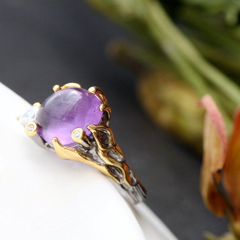 Винтажный тайский серебристый оптовая продажа настоящий Аметист ручной работы кольцо Женская мода Открытые S925 серебряное кольцо
