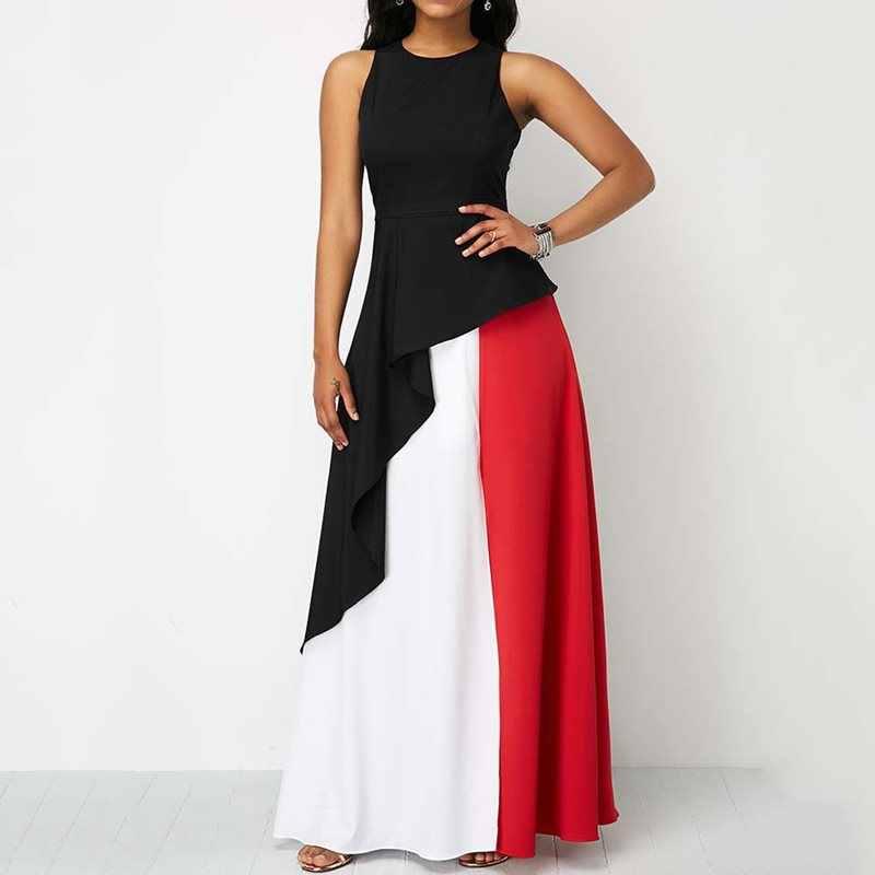Новинка, женское летнее черное платье макси для вечеринки, элегантное вечернее сексуальное большое свободное платье с рюшами, пэчворк, без рукавов, африканская мода, длинные платья