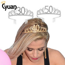 30 40 50 Birthday Party Decorations Adult Crystal Rhinestone Tiara Princess Crown Hairbands Accessories Happy 30 Year Decoration(China)