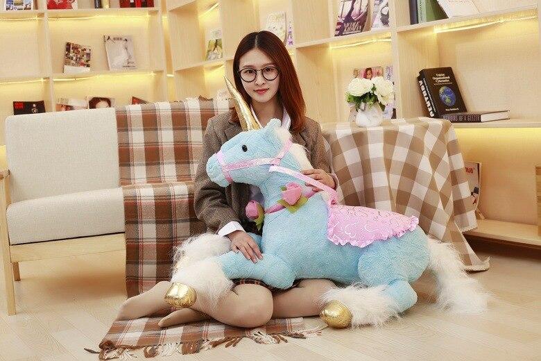 Belle bande dessinée licorne en peluche grand 90 cm bleu licorne douce poupée étreinte oreiller, cadeau d'anniversaire b2770