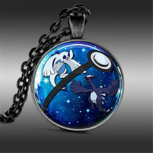 Handmade Pokemon Lugia Round Silver Plated Necklace