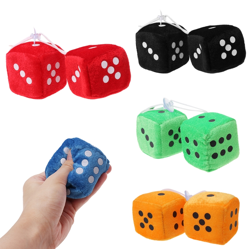 Fashion New 1 Pair Auto Car Fuzzy Dice Dots Rear View Mirror Hanger Decoration Car Styling Interior Accessorie 6 Colors