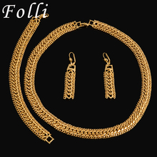 Real Italy 750 Gold Plated Jewlry Set Fashion High Quality Big Chain Choker Necklace Bracelet Earrings Twinkled Carved Brand