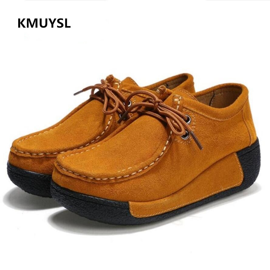 Women Flats Platform Ladies Autumn Winter   Leather   Shoes   Suede     Leather   Female Casual Shoes