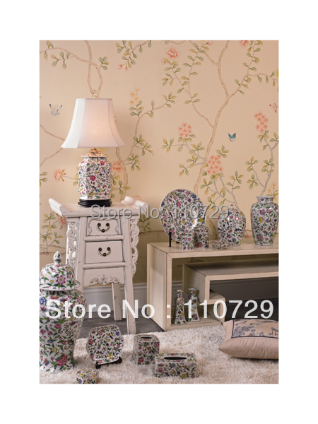Расписанный вручную шелковый обои дерево с цветами и птицами ручная роспись стены бумажные обои диван/телевизор/спальня backgound
