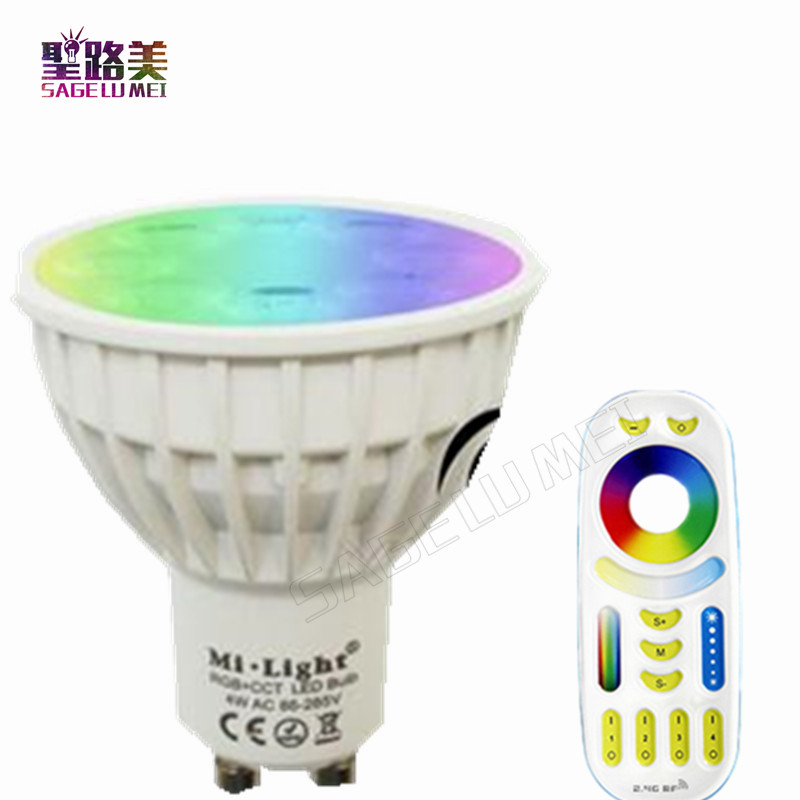 MiLight AC110V 220V 4W Led Bulb Dimmable MR16 GU10 RGB+CCT Spotlight Indoor Decoration use with 2.4G Wireless RF LED Remote wifi цена 2017