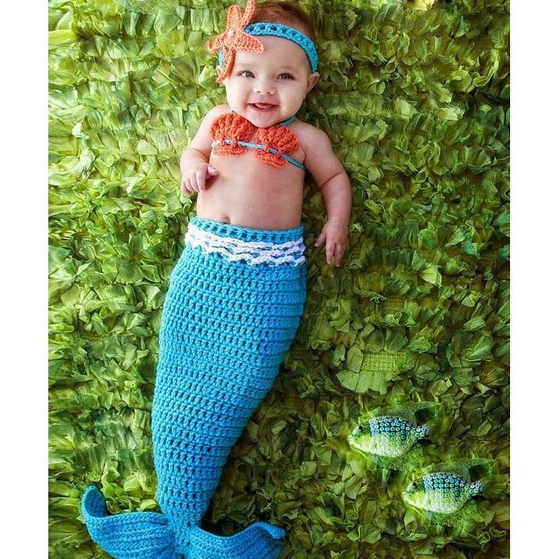 1Set Cute Crochet Mermaid Tail Newborn Baby Photo Photography Props with Headband