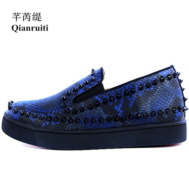28e71bb3978d1 Qianruiti Royal Blue Men Rivet Flats Slip-on Sneakers Low Top Men Printing  Spike Shoes Runway Chaussures Hommes EU39-EU46