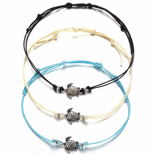 3 Pcs Set Boho Hand Braided Ankle Bracelet Cute Foot Halhal Jewelry For Women