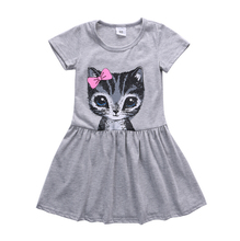 New girls kids Summer Clothing Dresses Cute Brief Cat Print party Mini Cotton Short Sleeve dress Girl Age 2-8Y