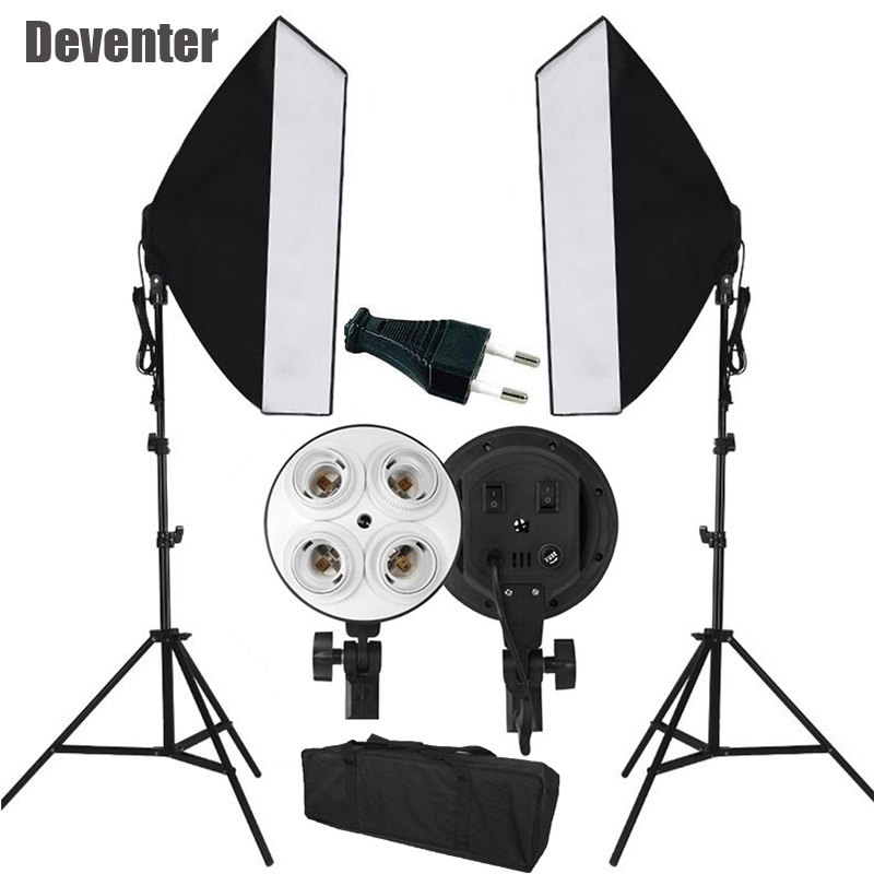 Prix pour CE Photo Studio Photographie Lumière D'éclairage Continu Vidéo softbox Kit et Double 4 E27 lampes et Fourre-Tout Sac UE Plug
