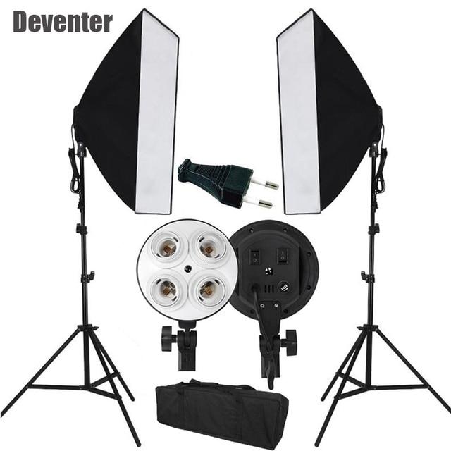 Novo luz contínua de estúdio de fotografia Kit softbox para iluminação de vídeo e soquete duplo 4 E27 & bolsa tote plugue EU certificado CE