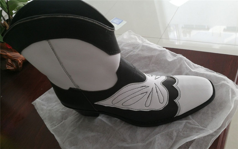 Patchwork Mi Pour White Sculpté Court mollet Couture Chaussons black Bout Rétro Fleur Femmes Talon Bottes Carré Couleur Mélangée VqUzSMpG