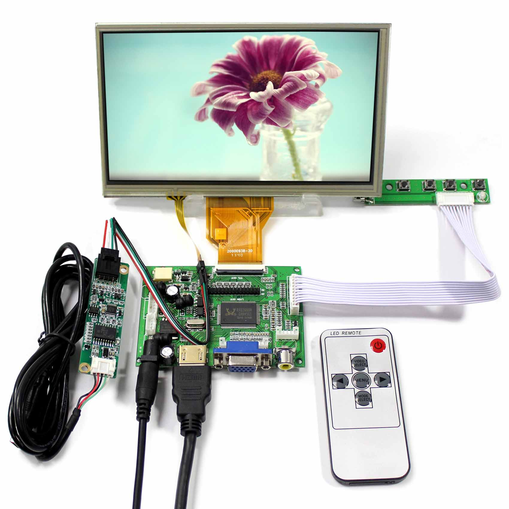 HDMI VGA 2AV LCD Controller Board+7inch AT070TN90 800X480 LCD Screen With Touch Panel 5inch lcd screen with capacitive touch panel 800x480 40pin lcd display