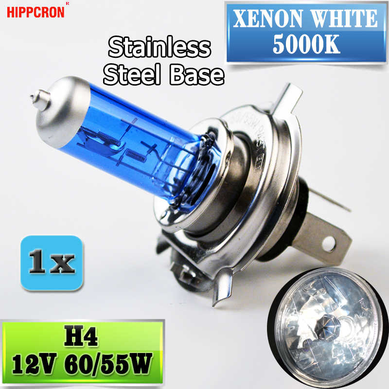 Hippcron H4 Halogen Lamp 12V 60/55W 5000K HeadLight Bulb Dark Blue Glass Car Light Super White