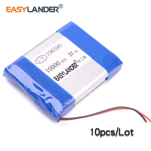 10pcs/Lot 3.7v lithium Li ion polymer rechargeable battery 196590 10000mAh Polymer Tablet pc MID IPAQ Power bank