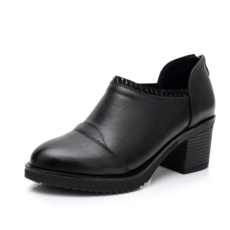 Cuir Femmes 35 Noir Femme Épais 2018 Talons Chaussures marron Avec 42 Véritable Mode Plus Zxryxgs Taille Des Nouveau Automne En Marque De La Hauts rWCxBdoe