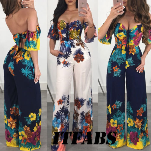 UK 2018 New Fashion Hot Sexy Charming Women Off Shoulder Clubwear Playsuit Casual Short Sleeve Party   Jumpsuit  &Romper Strapless
