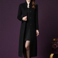 Autumn Winter Pockets Vintage Blends Jackets Women Long Section Woolen Coat Solid Stand Collar Comfortable Coats
