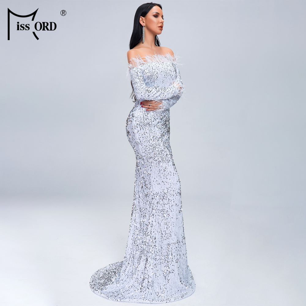 HTB1UeLiXouF3KVjSZK9q6zVtXXaL - Missord Sexy Off Shoulder Feather Long Sleeve Sequin floor length Evening Party Maxi Reflective Dress Vestdios FT19005