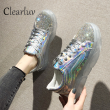 Crystal vulcanized shoes ladies rhinestones transparent PVC platform sports shoes women's breathable casual shoes flat shoesC911 лампа светодиодная таблетка jazzway 493461 gx53 8w 5000k