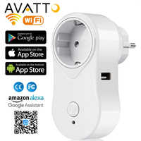 AVATTO 16A EU Wifi Smart Plug with USB Port, Alexa Google Home Audio Wireless Control Smart Socket Outlet with Android ios phone