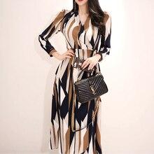 Sexy Striped Print Dress Women 2018 Autumn Korean Style V-neck Bow Ban