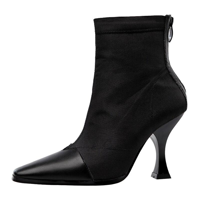 Patchwork En Hiver Black Red 2018 Style Haute Cuir Bottes Cheville Stretch Femmes Automne Talons Mode wine Chaussures Femelle apricot Piste De Lycra OzOx8w