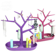 Hot sale Display Jewllery Organizer Show Rack Jewelry Necklace Ring Earring Plastic Tree Stand Earings Holder